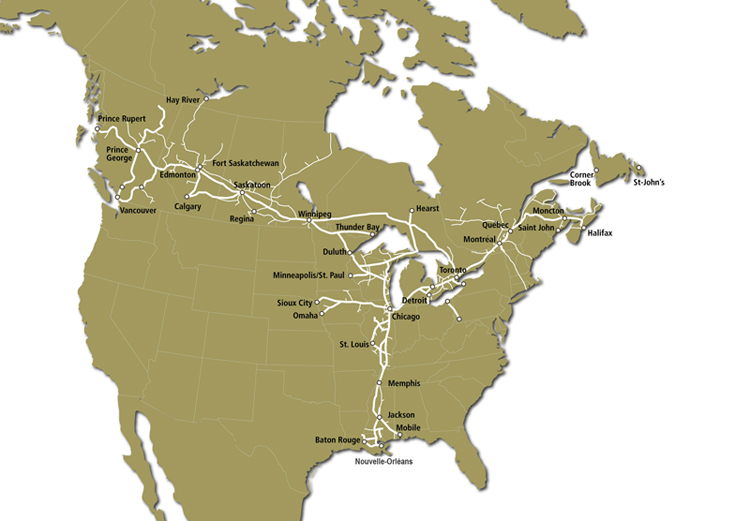 CN Rail map